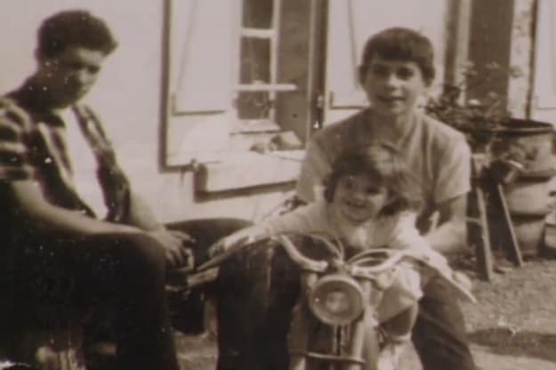 Andre the Giant at 12 Years Old on the left with a boy and girl on a motorcycle on the right