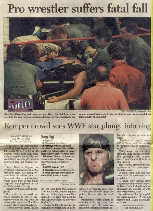 Newspaper article on Owen Hart death