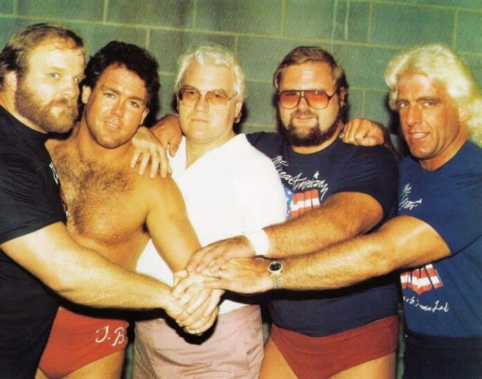 The Four Horsemen Ole Anderson, Tully Blanchard, J.J. Dillon, Arn Anderson and Ric Flair in 1986