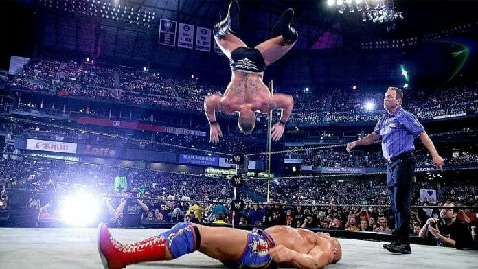 Brock Lesnar at WrestleMania 19 mid-flight while preforming a soon-to-be botched shooting star press
