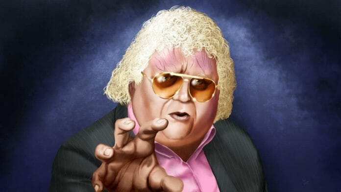 Artists Rendering with a blue background of Dusty Rhodes in a pink shirt and black suit jacket with his hand outstretched