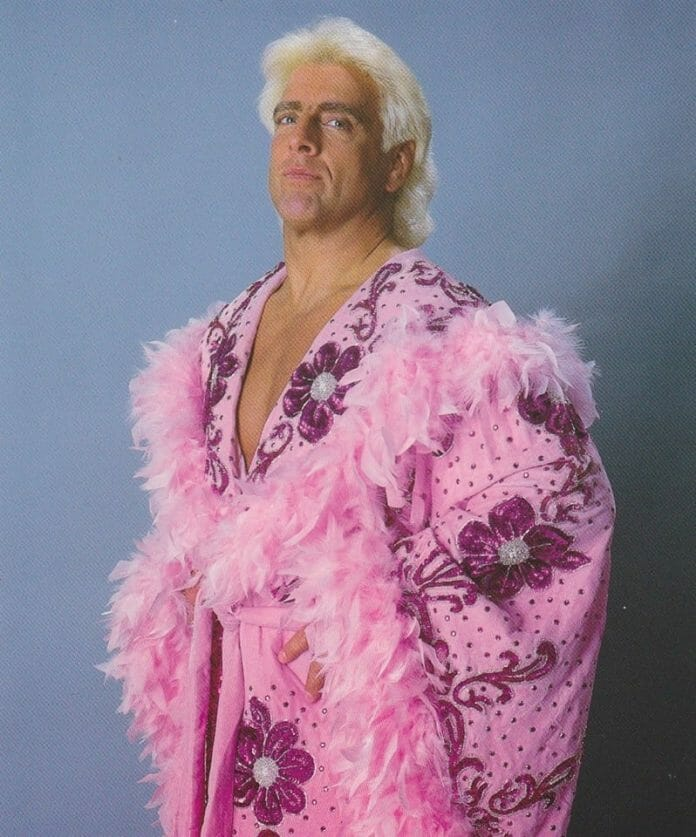 Ric Flair in a pink robe with hot pink sequined flowers trimmed with pink feathers