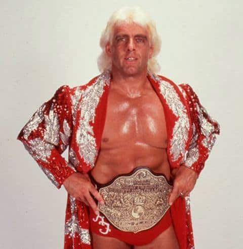 Ric Flair in a red and silver fully sequined robe and title belt with his hands on his hips for a promo shot
