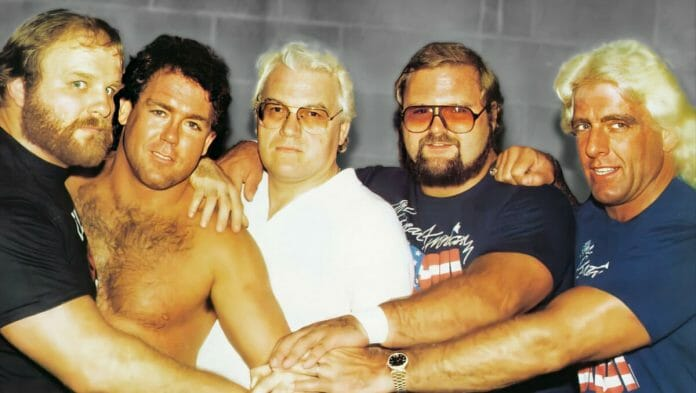 The Original Lineup of the Four Horsemen: Ole Anderson, Tully Blanchard, J.J. Dillon, Arn Anderson, and Ric Flair in 1986.
