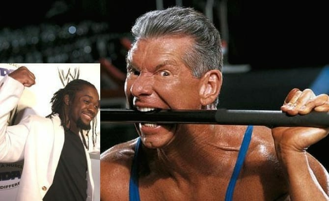 Photo of WWE CEO Vince McMahon biting on a ring rope with an inset photo of Kofi Kingston in a suit