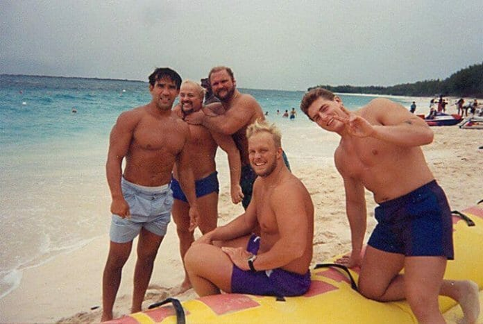 Ricky Steamboat, Kevin Sullivan, Arn Anderson, Steve Austin and William Regal breaking kayfabe during time off in the early 90's