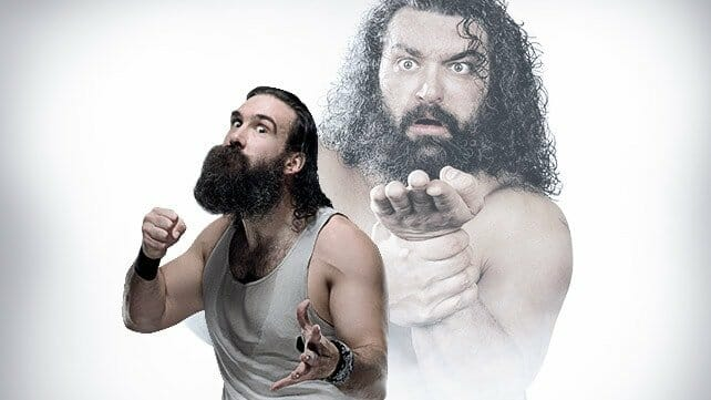 Bruiser Brody promo with a muted image of him in the background and a foreground image of him with his fist up and crazy eyes