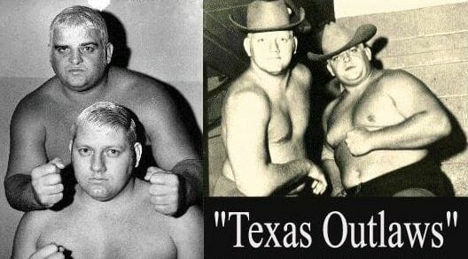 2 photos of The Texas Outlaws Dick Murdoch and Rusty Rhodes posing together shirtless wearing cowboy hats in the right photo