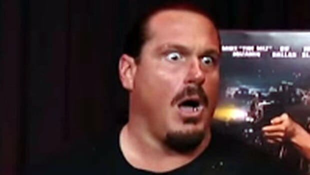 Rhyno with a look of shock on his face