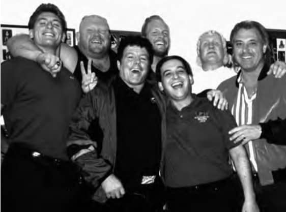 From left to right: Steven Regal, Vader, Bill Dundee, Steve Austin, Gary Michael Cappetta, Harley Race and one of Harley's many friends.
