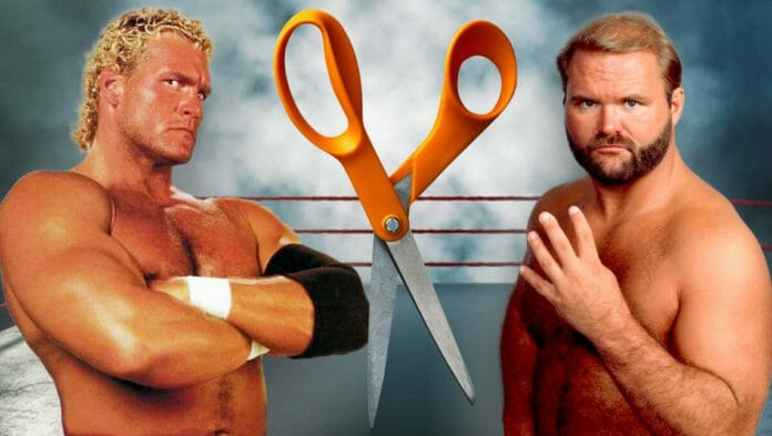 Sid Vicious and Arn Anderson with their favorite weapon of choice: scissors!