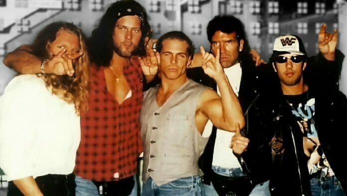 "The Kliq: Paul ""Triple H"" Levesque, Kevin Nash, Shawn Michaels, Scott Hall, and Sean ""X-Pac"" Waltman."