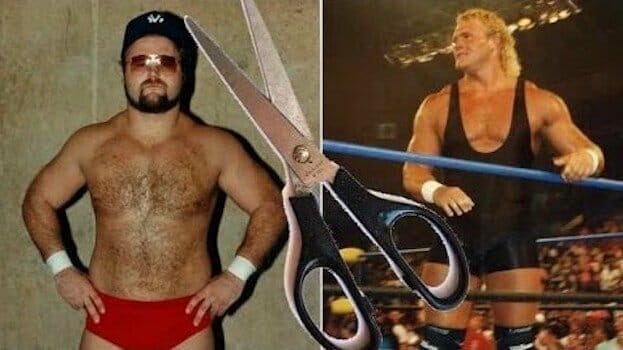 graphic of Sid Vicious and Arn Anderson in wrestling gear with a scissor overlay