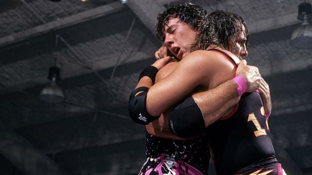 Bret Hart and Sean Waltman hugging after Raw 1994