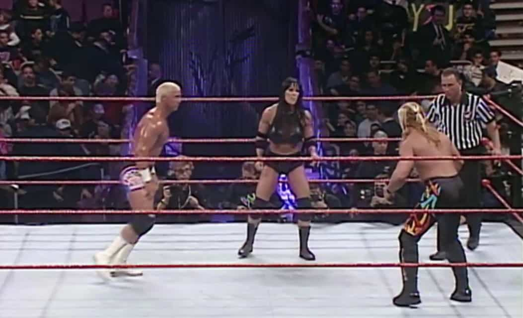 Chyna (c) faces off against Chris Jericho and Bob Holly for the Intercontinental Championship at the 2000 Royal Rumble