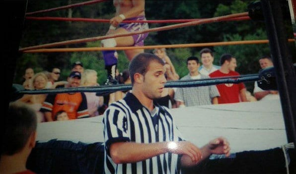 The cousin of Jonny and Chris Candido, Vinny, wearing the pinstripes for the very first time at Bam Fest. Not a bad way to earn $500!