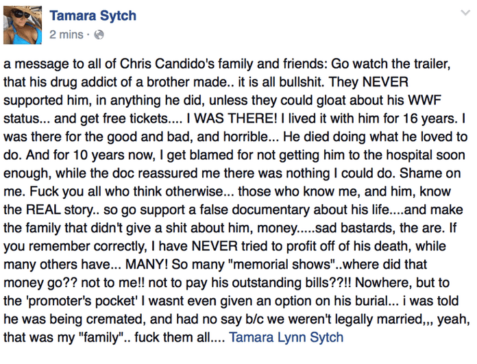 Social media post Tammy Sytch made about the family of Chris Candido.