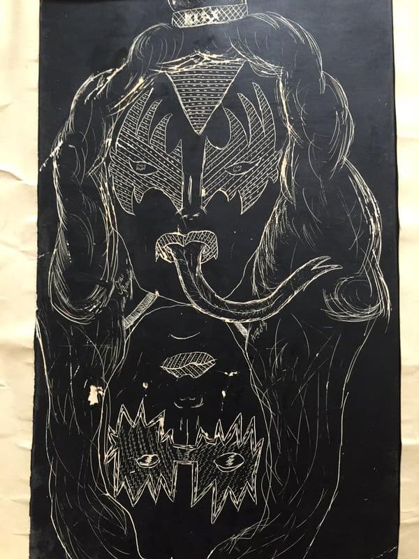 When Chris Candido's eighth-grade art teacher retired, she brought the Candido family all of his old artwork that she had saved. This KISS artwork was made when Chris was thirteen.