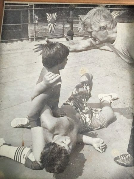 Chris Candido wrestling at 12 with his grandfather 'Popeye' Chuck Richards as referee