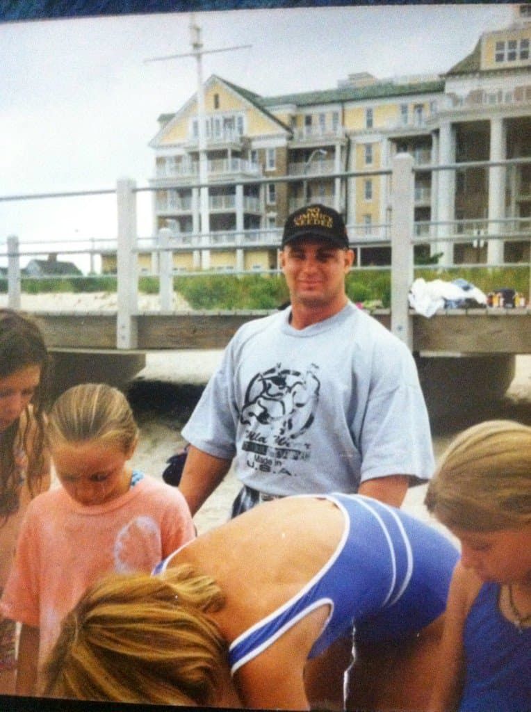 Chris Candido sporting a black eye at a family get together on their beach in Spring Lake, New Jersey. Jonny and Chris used to egg each other on to hit one another, often resulting in black eyes and their mother refers to them as, 'The Moron Brothers'