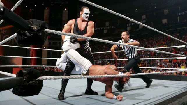 Sting in WWE and Seth Rollins wrestling in the ring the night he ended his career
