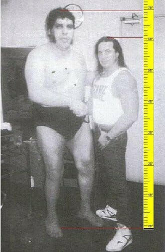 Andre the Gian with Bret Hart backstage and a ruler showing the height of both