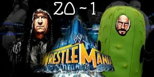Wrestle Mania ad of the undertaker vs another wrestler dressed as a cucumber.