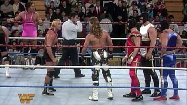 The Hart Family versus Shawn Michaels and his three masked Knights at Survivor Series 1993