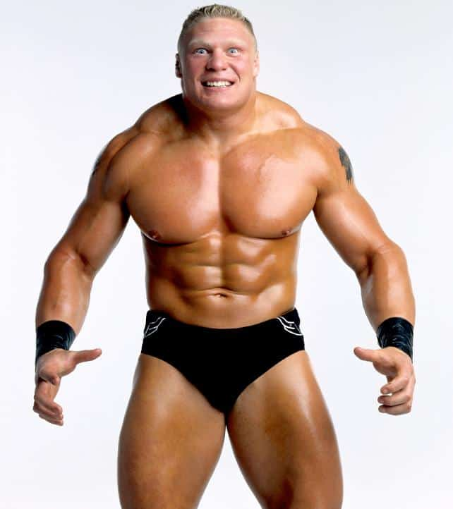 Promo photo of Brock Lesnar in black wrestling trunks with muscles flexed and eyes wide and popping out