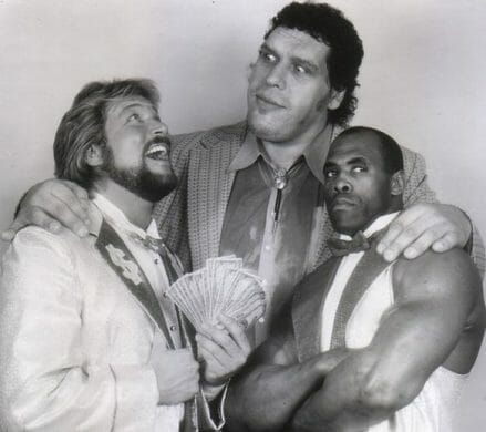 Million Dollar Man Ted DiBiase, Andre the Giant and Virgil with Andre's arms around them