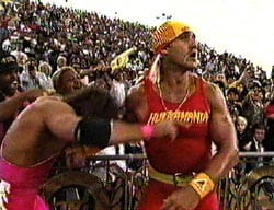 Bret Hart giving Hulk Hogan approval to step in the ring against Yokozuna at WrestleMania 9 in front of fans