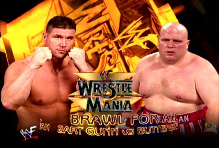 Bart Gunn and boxer Butterbean are seen here in a WrestleMania 15 promotional photo. WWF Brawl For All- an idea that did not go to plan.