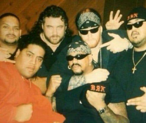 Yokozuna (far right) with his New Generation-era clique the 'Bone Street Krew'- Savio Vega, Rikishi, Henry O. Godwinn, Charles 'The Godfather' Wright and Undertaker