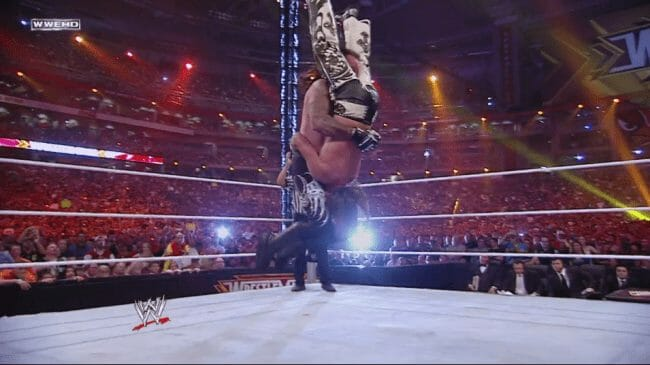 The Undertaker hits a jumping tombstone piledriver on Shawn Michaels at WrestleMania 26. This would mark the final moments of Shawn Michaels' illustrious in-ring career.