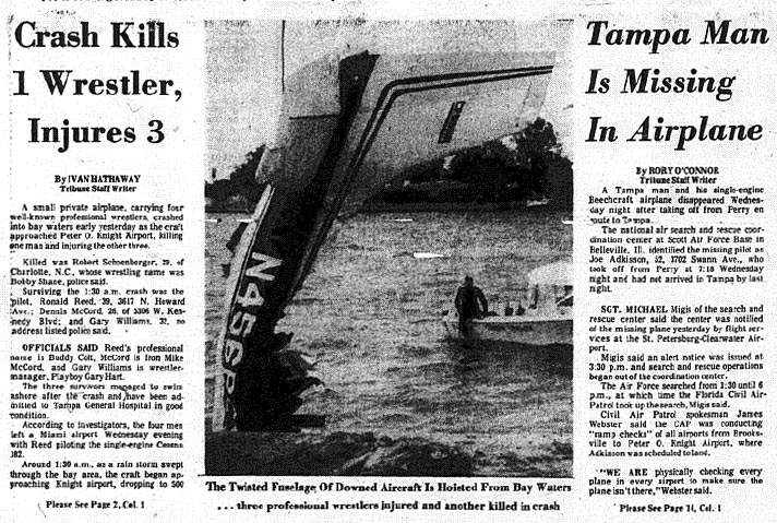 Newspaper clipping from the Plane Crash from the Tampa Bay Times showing the Tailpiece being pulled out of the water