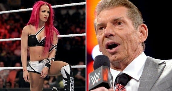 Collage of Sasha Bands in the Ring and WWE CEO Vince McMahon on the microphone