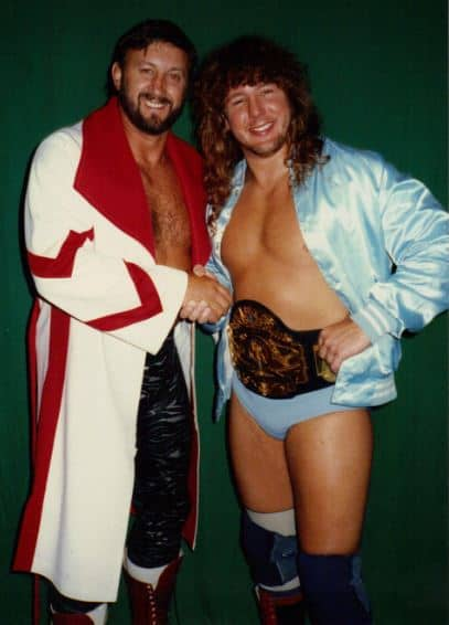 Jerry Stubbs and CWF champion Dr. Tom Prichard in 1989. Life on the beach was still great, but the promotion would close in December of that year.