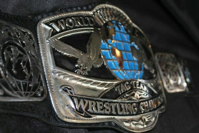 Silver, black and teal World Class tag team title belt was rescued by William Moody and restored by Dave Millican.