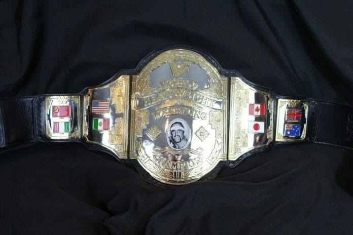 While not the original, this 'Hogan Mystery' belt is an exact copy of the title belt, made by Reggie Parks.