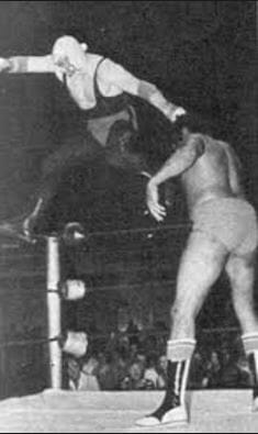 Old school The Spoiler Don Jardine walking the ropes a standard part of his matches.