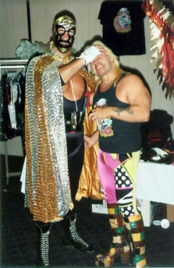 """""""The Spoiler"""" Don Jardine clowning around with Exotic Adrian Street backstage."""