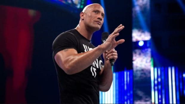 The Rock speaking to an audience