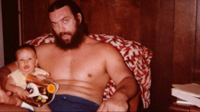 Bruiser Brody with his son, Geoffrey. Brody died on July 17, 1988, from stab wounds suffered at the hands of José González in Bayamon, Puerto Rico.