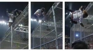 Mick Foley takes a plunge off the Hell in a Cell cage at the hands of The Undertaker