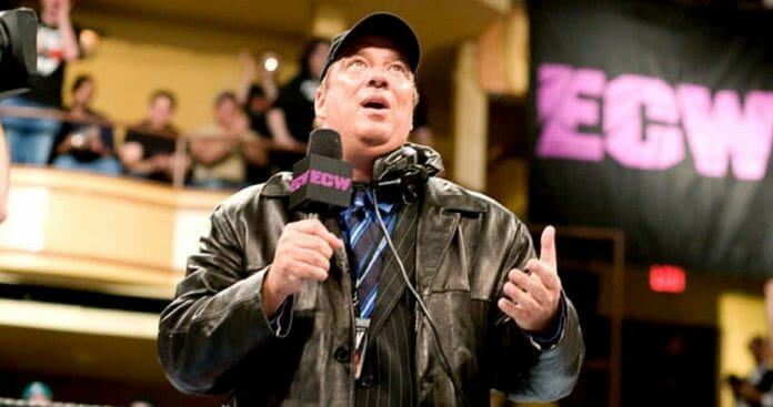 #3 Best Wrestling Managers Paul Heyman on a ECW microphone in a leather jacket and baseball cap