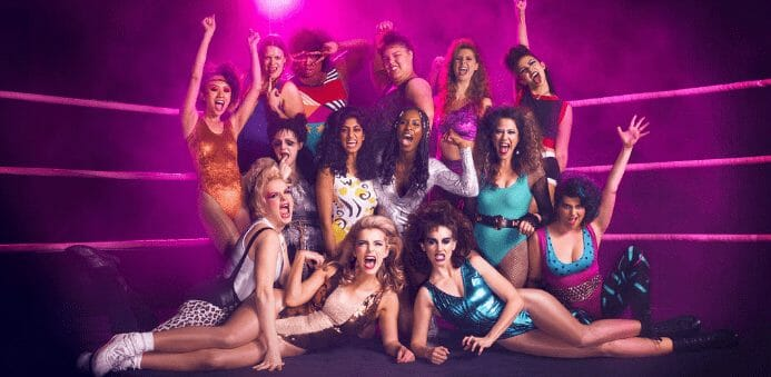 Photo of all the female wrestlers in Netflix's GLOW