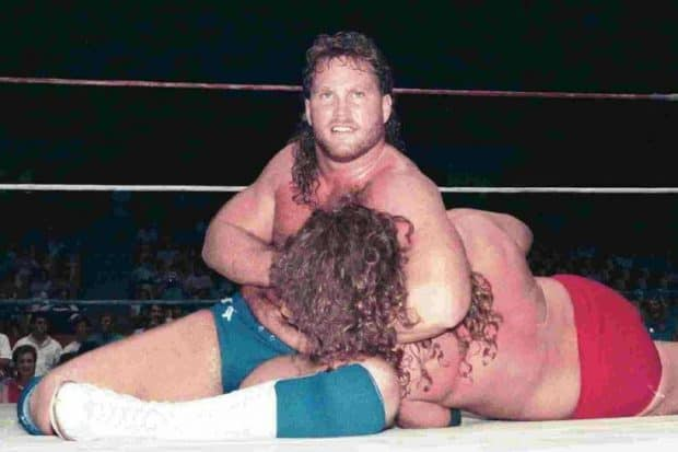Brad Armstrong and Dr. Tom Prichard in the ring fighting for the Continental Wrestling Federation championship