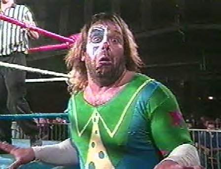 Matt Bourne dressed in a Spinoff of Doink the Clown called 'Borne Again'