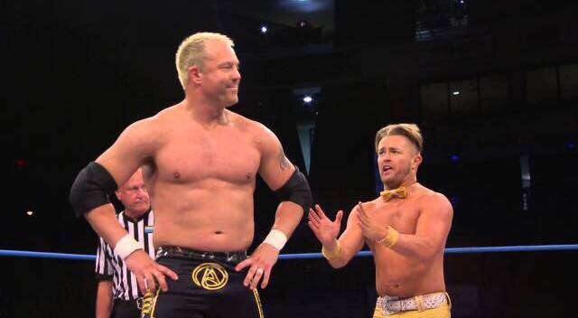 Ken Anderson and Drake Maverick (then known as Rockstar Spud) in the ring.