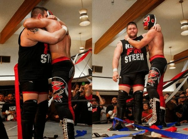 Kevin Owens (Then Kevin Steen) and Sami Zayn) El Generico hug each other and show they are true brothers in the ring